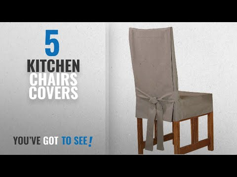 Top 10 Kitchen Chairs Covers [2018]: Sure Fit Cotton Duck Shorty Dining Room Chair Cover, Linen