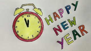 Happy New Year 2020 Colouring Drawing for kids New Year Card ideas