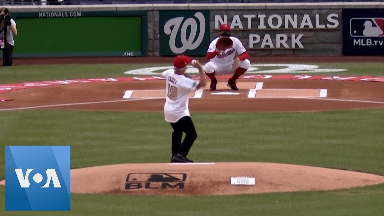 Dr. Anthony Fauci Throws First Pitch at Opening Day - YouTube