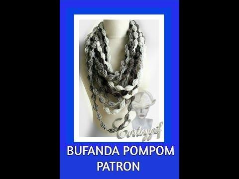 147#ES-Bufanda pompom crochet -Ponto pompom croche para cascol - YouTube