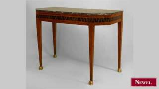 Antique Italian Neo-classic Walnut Console Table With Canted