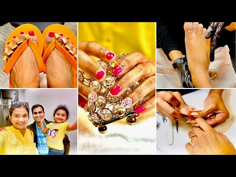 Pampering Day | Pedicure And Manicure With Swarovski Crystals | Worth Or Not ?