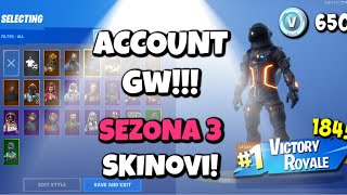 FORTNITE ACC GW ! (Sezona 3 skins, V-BUCKS i 184 WINS)