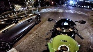 Mercedes AMG GTs (650 HP) & Kawasaki ZX6R (POV) | ШАШКИ ПО ГОРОДУ от 3-го лица