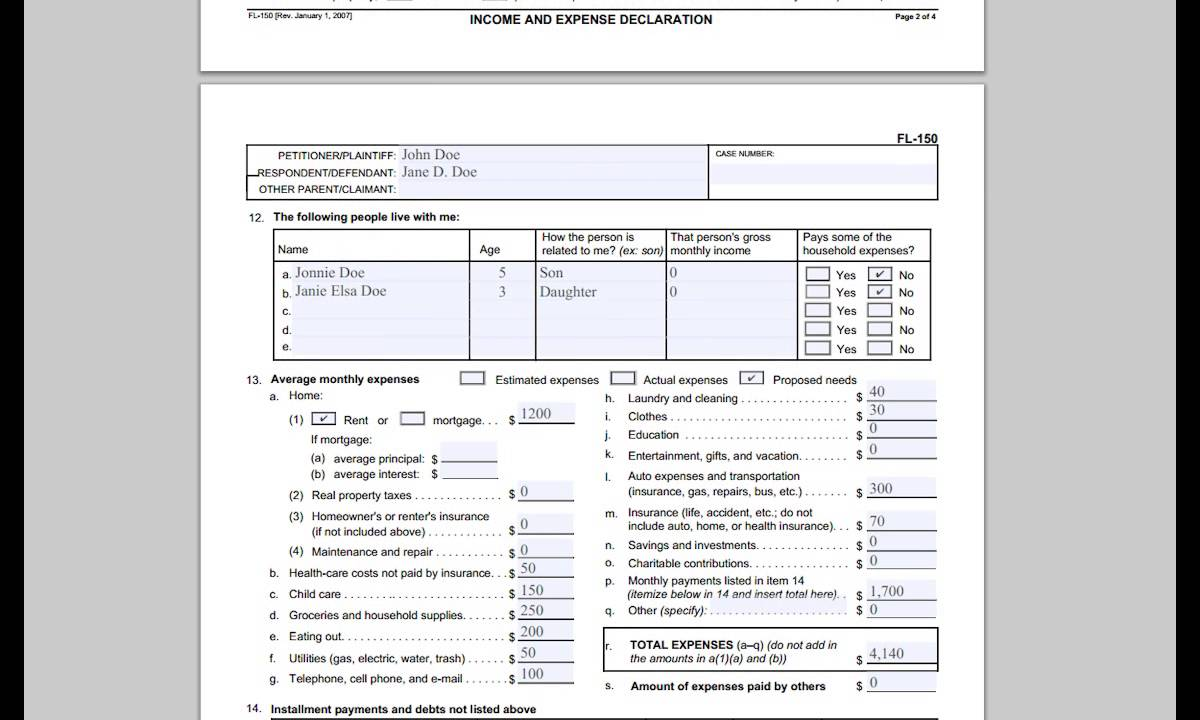 worksheet Child Support Worksheet Florida fl 150 income and expense declaration youtube declaration