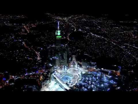 """Atmospheric Filming By Helicopter For The Biggest Clock Tower Over The World In Mecca """"Makkah"""" HD"""