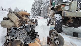 Сборка Ямз-238 в полевых условиях зимой Урал лесовоз