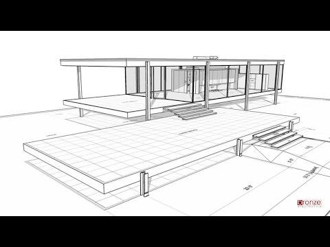 Farnworth House 3d SketchUp modulation  YouTube