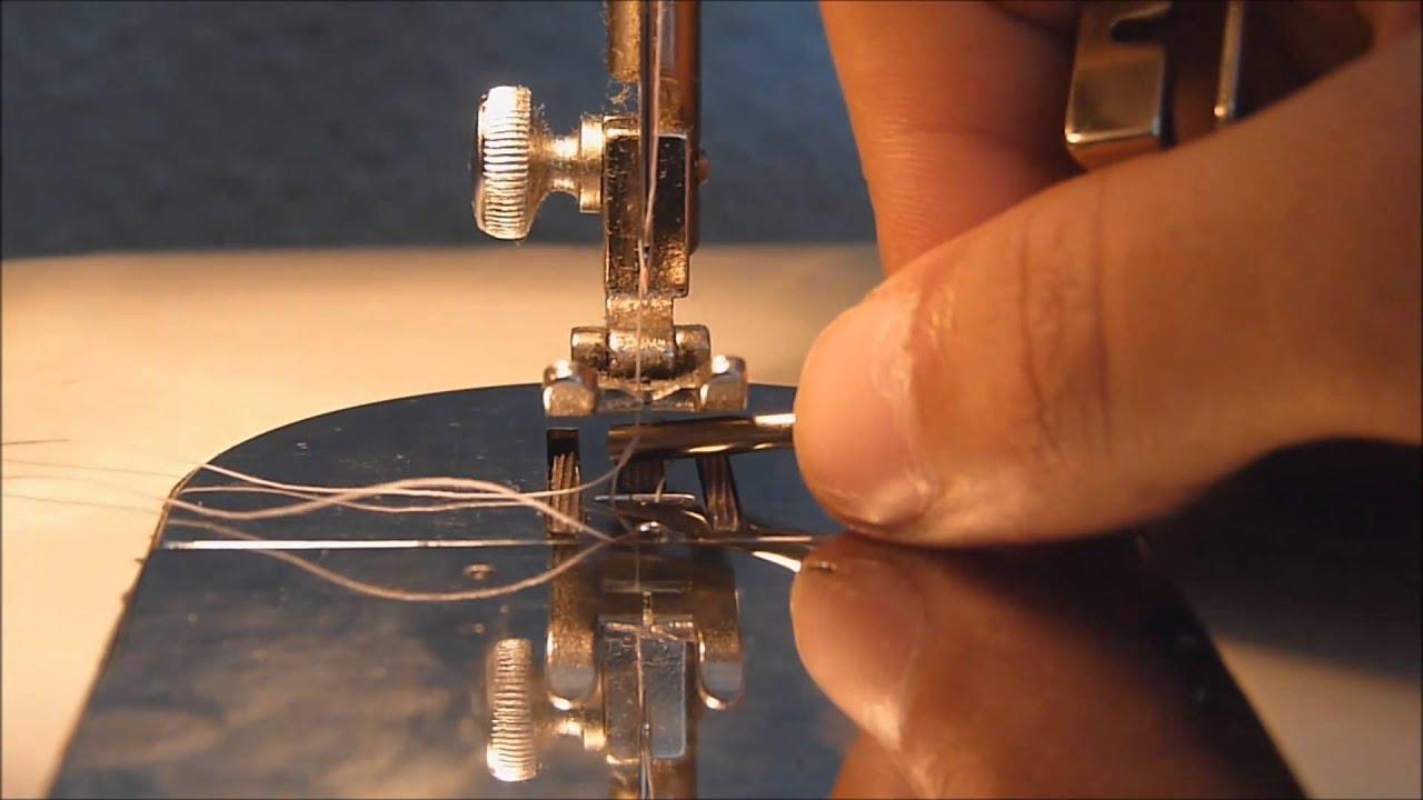 Máquina de coser. 3. Enhebrar, subir hilo y primeras