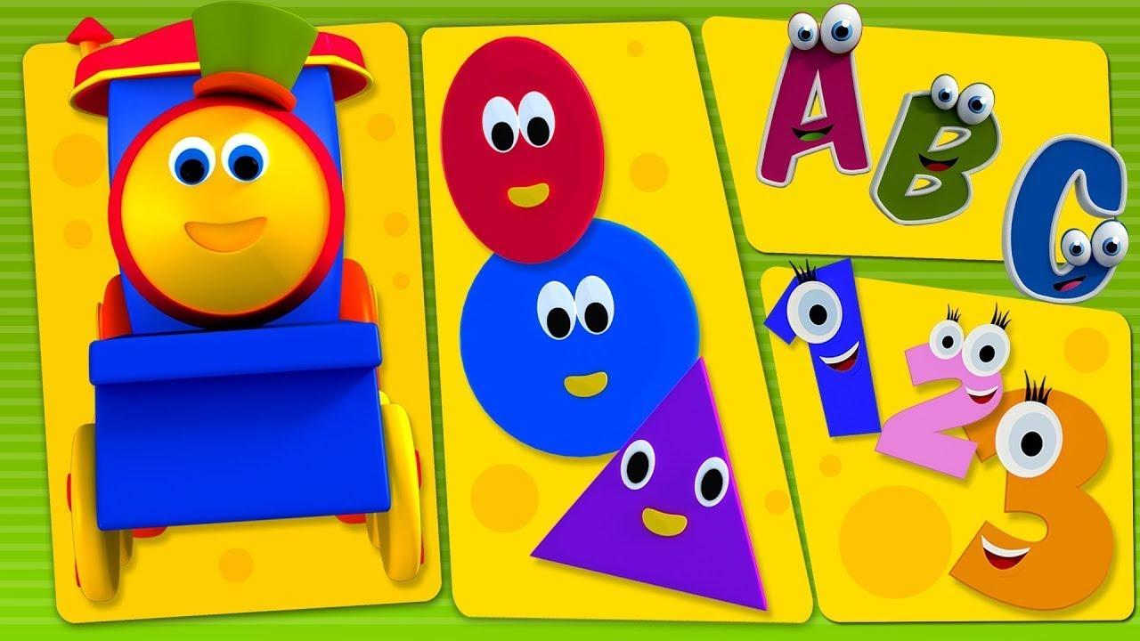 Bob The Train | Bob And Preschool Phonics Song |ABC Song Numbers Song | Shapes Song Bob Cartoons