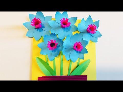 3D ОТКРЫТКА Своими руками на 8 Марта. Как сделать цветы из бумаги. ОРИГАМИ (Эмилия) Подарок. ПОДЕЛКИ
