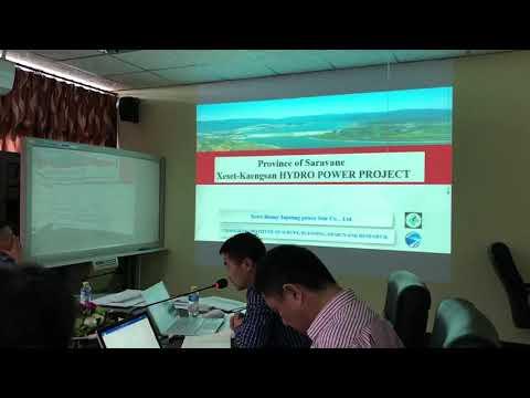 ประชุมที่กระทรวงพลังงานและบ่อแร่ เวียงจันทน์ สปป.ลาว ผู้อนุมัติโครงการเรื่องแบบและใบอนุญาติก่อสร้าง