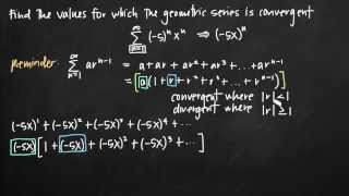 Values for which the geometric series converges