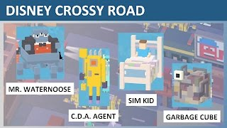 Disney Crossy Road Mr. Waternoose, C.D.A. Agent, Sim Kid, Garbage Cube (Monsters Inc) Gameplay