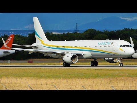 [FullHD] Kazakhstan Government Airbus A321SL landing & takeoff at Geneva/GVA/LSGG