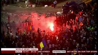 Protest against corruption and low wages (Romania) - BBC News - 10th August 2018