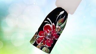 💕 Красный цветок со стразами 💕 Весенний дизайн. Роспись ногтей своими руками цветы design ногти