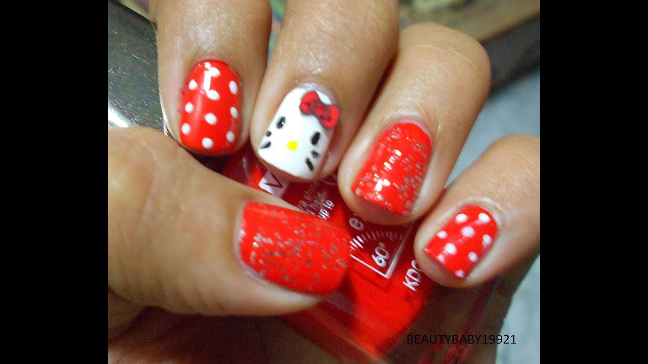 Hello kitty nail short nails nail design for beginners youtube prinsesfo Gallery