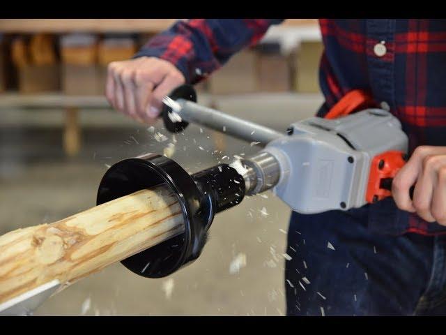 log furniture with lumberjack tools