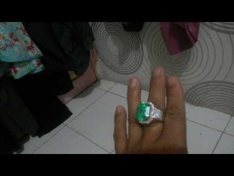Jual batu zamrud columbia super ring white gold diamond eropa super high qualitu