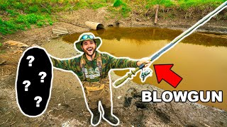 Fishing with HOMEMADE BLOWDART in NASTY SEWER!!! (Lucky Shot)