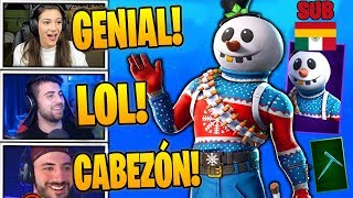 Streamers react to *NEW SKIN* DESPITE (SNOW MAN) IN FORTNITE