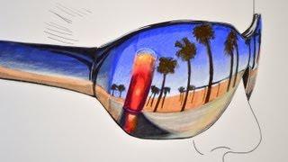 Cómo dibujar un reflejo de playa en lentes oscuros - Arte Divierte. thumbnail