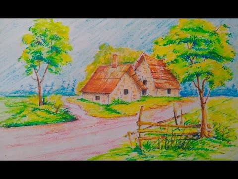 beautiful landscape easy drawing