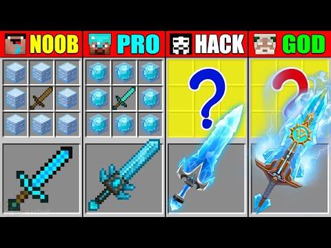 Minecraft NOOB vs PRO vs HACKER vs GOD LEGEND FROZEN SWORD CRAFTING CHALLENGE in Minecraft Animation
