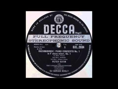 Rachmaninov, Piano Concerto No  1 , Peter Katin, piano