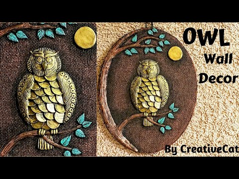 Wall Decor/Coin Owl/Owl home decor/art and craft/Cardboard crafts