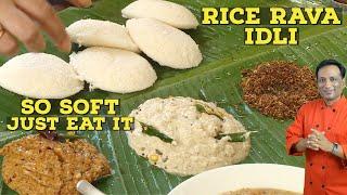 Rice Rava Idli with Chutney - Soft Idly with Gunpowder - onion chutney - Coconut and Peanut Chutney