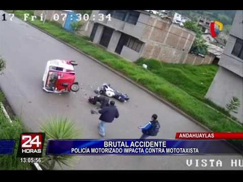 Policía motorizado choca aparatosamente con mototaxi en Andahuaylas
