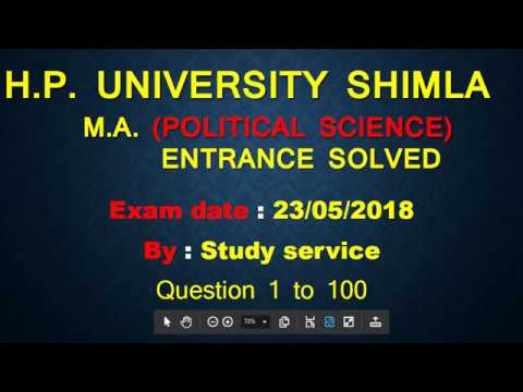 M A Entrance Political Science Solved paper HPU SHimla and answer key