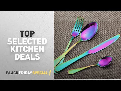 Black Friday Kitchen Deals: LEKOCH 4-Piece Colorful Rainbow Stainless Steel Flatware Set Including