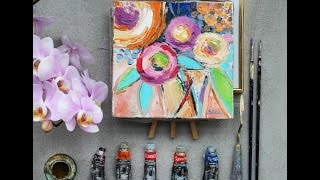 Рисую цветы  Рисую букет маслом