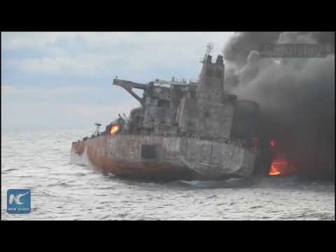 Video shows Chinese salvation team board stricken Iranian oil tanker Sanchi before it sinks