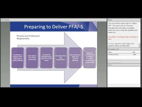 Psychological First Aid (PFA) for Schools and IHEs Webinar