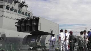 76mm速射砲、アスロックランチャー操法展示 練習艦やまゆき一般公開 TV-3519 宇品2019 海上自衛隊