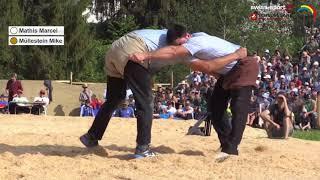 Schwyzer Kantonalschwingfest 2018, Sattel SZ, Schlussgang Mathis Marcel - Müllestein Mike