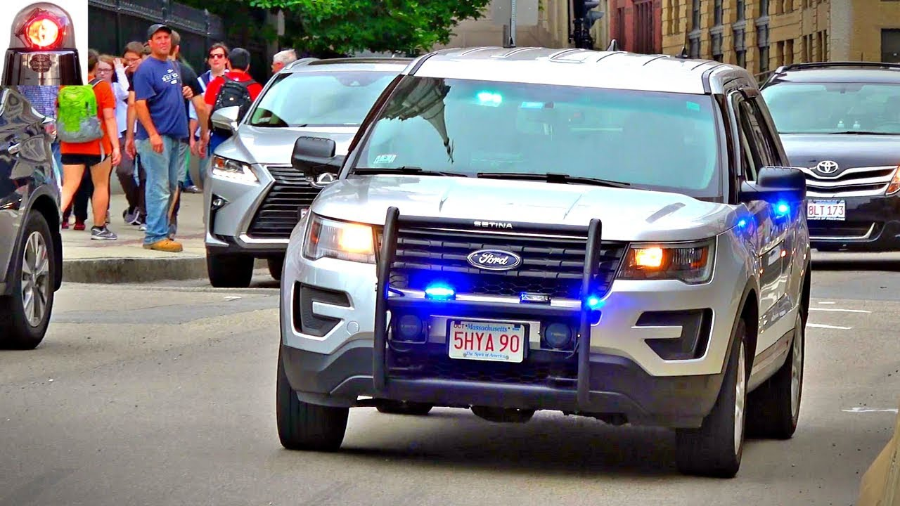 Unmarked Boston Police Ford Explorer Responding Lights And