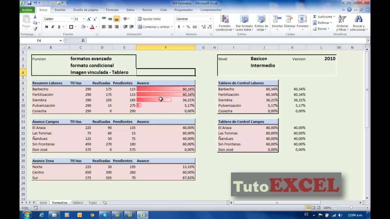 Tuto Excel (Intermedio) Formatos, Indicadores, Tablero Control - YouTube