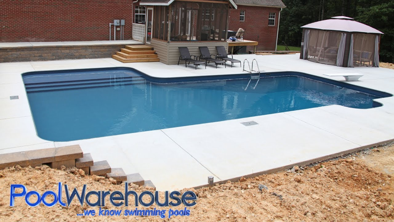 L Shaped Diy Inground Pool Kit With Tanning Ledge Bench From Pool Warehouse Youtube