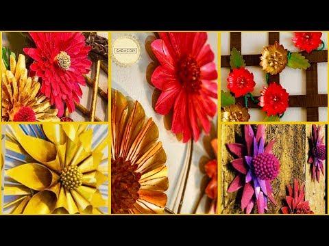 5 Floral Wall Decoration Ideas| gadac diy| craft ideas| diy crafts| Room Decor| easy crafts