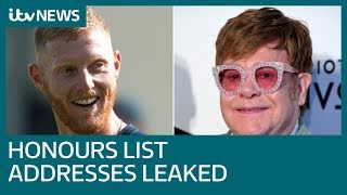 Addresses of Honours List recipients accidentally revealed | ITV News