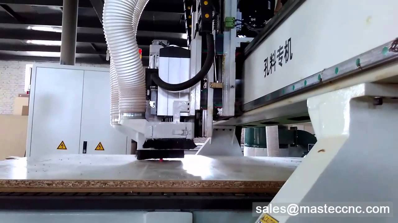 automatic board cutting cnc router machine with boring unit for