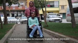 Muna,  A Syrian girl learning to walk in Turkey