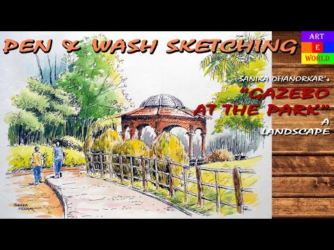 Pen & Wash Sketching | Landscape | Tutorial Lessons Video | beginners | techniques