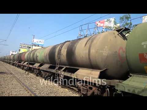 Train carrying oil tanker -Indian Railways :wildindiafilms