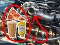 BLOWING UP A CAR ENGINE WITH FOOD! (BAD IDEA)